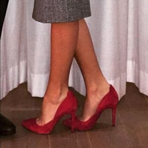 Jessica Simpson red suede heels
